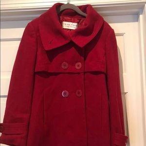 Beautiful deep red Trina Turk pea coat, size 8